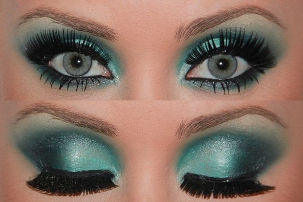 Gray into green eyes makeup