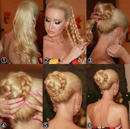Hair bun hairstyle step by step