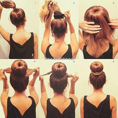 Easy bun hairstyle for medium hair