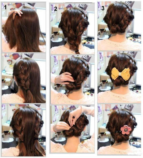 Step by step greek style designs on medium hair
