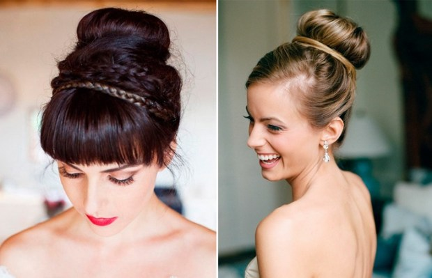 Bridal bun on the crown of the head