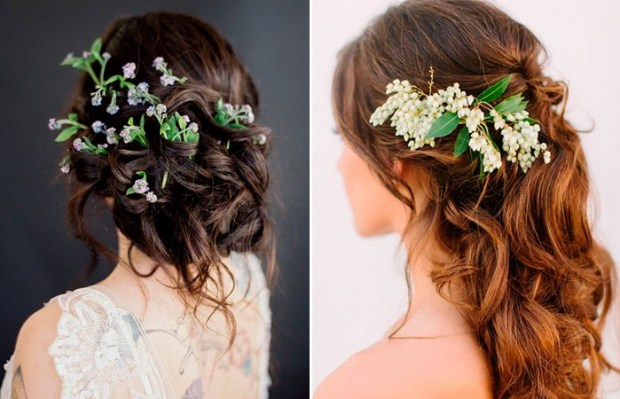 wedding hairstyle trends 2018 with real flowers
