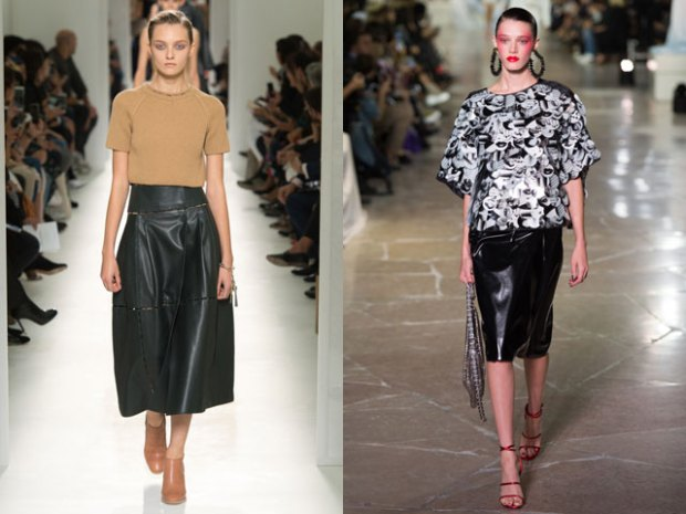 midi length leather skirts
