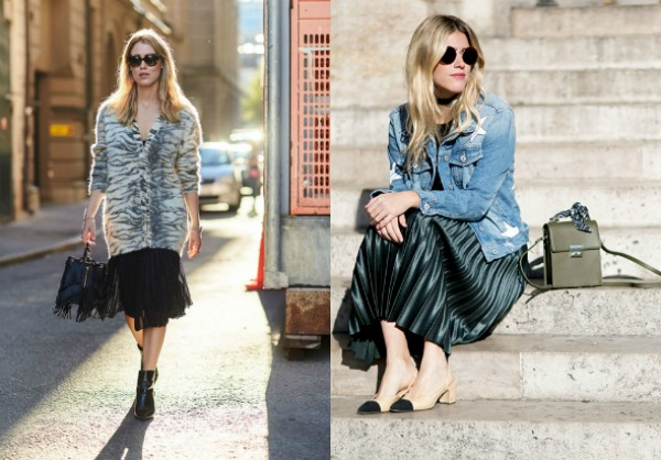 Street style fashion trends 2018 pleated skirts