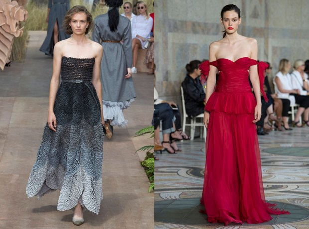 Dresses with bare shoulders fall 2018 winter 2019