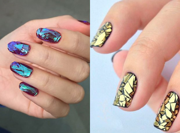 Nail designs fall winter 2018 2019: shattered glass