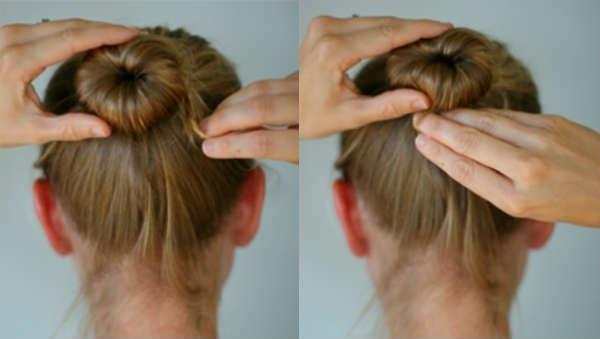 Simple hairbun for medium length hair