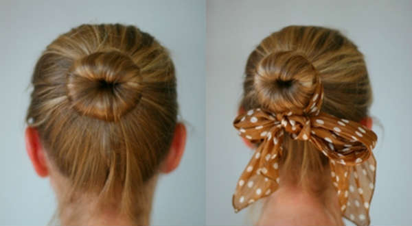 simple hair bun medium hair