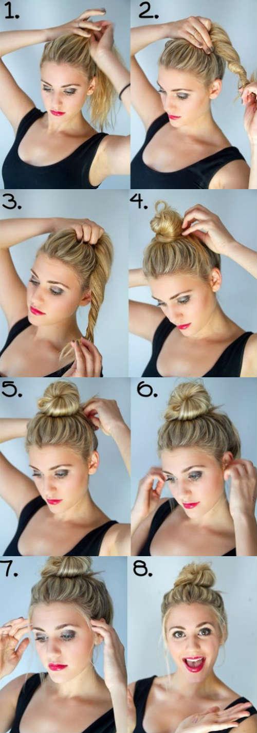 Classic bun for long hair