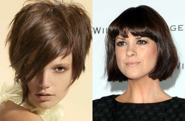 Bob-carre hairstyle with choppy bangs