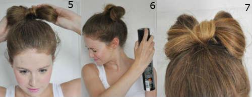 Bow bun for long hair