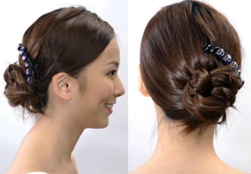Bun for long hair: decorative elements
