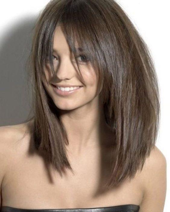 Lob haircuts with bangs
