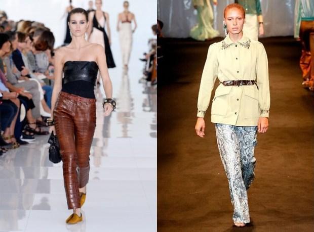 Women pants 2019 reptile skin leather