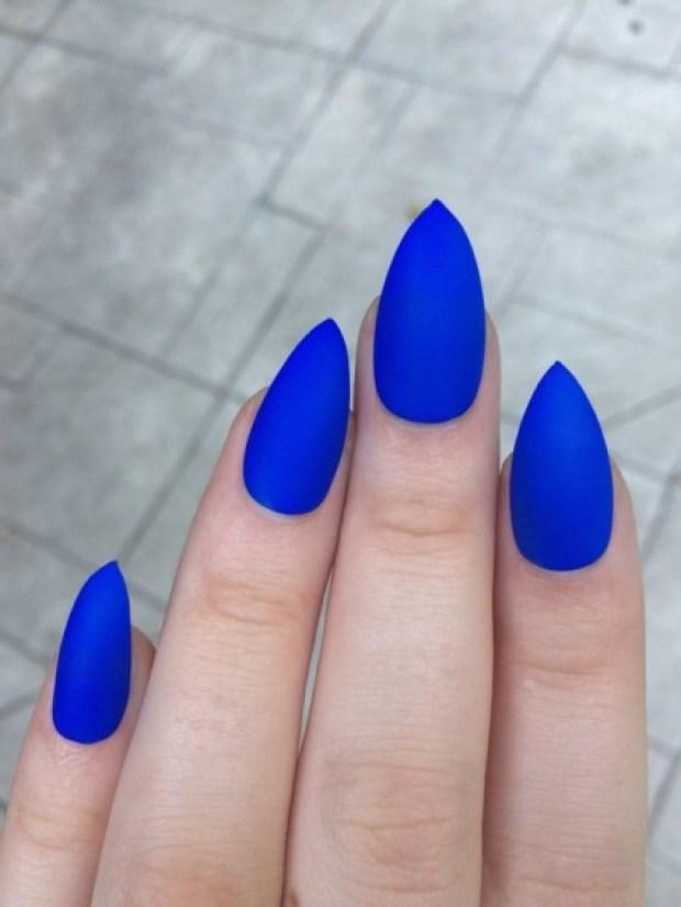 blue stiletto gel nails