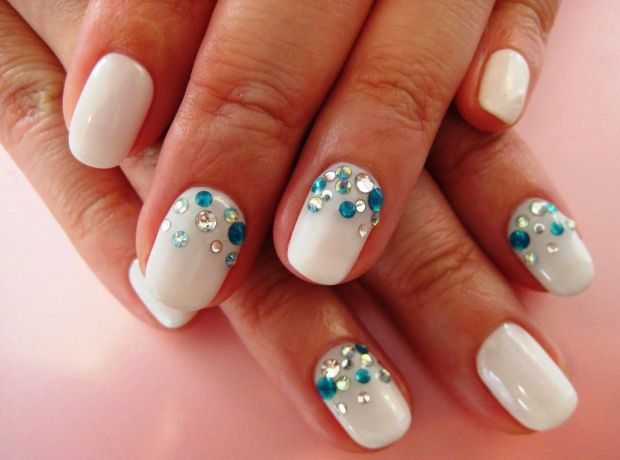 White manicure with stones