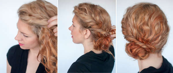 Bun hairstyle for curly hair