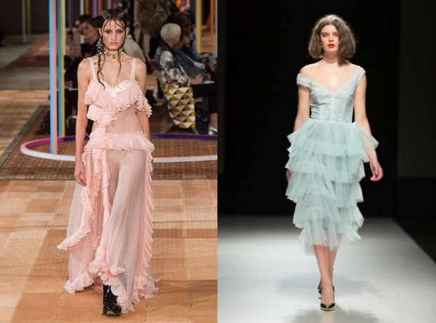 Dresses with long frills