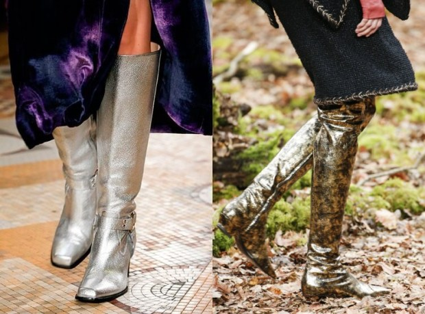 Gold over the knee boots
