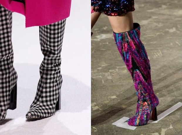 Knee high boots with fashion print