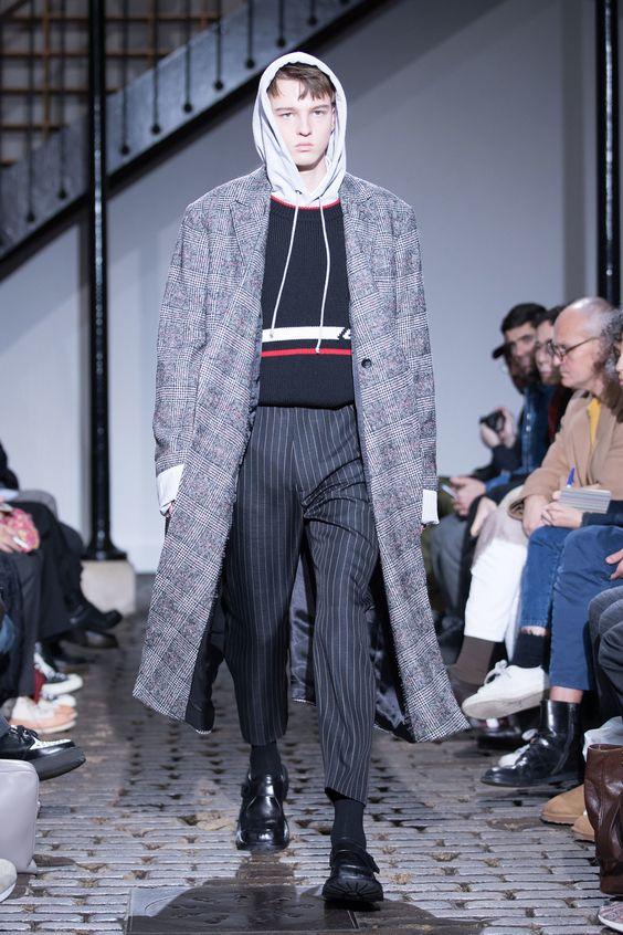 men's striped pants with plaid coat