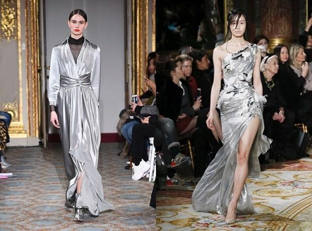 Silver evening dress fall winter 2019 2020