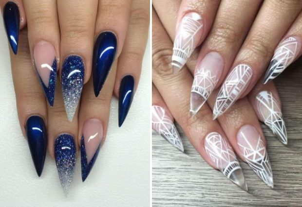 Stiletto nail art ideas for New Year's Eve 2020