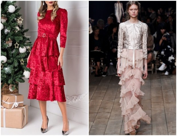 Frilled dress for holiday party 2020