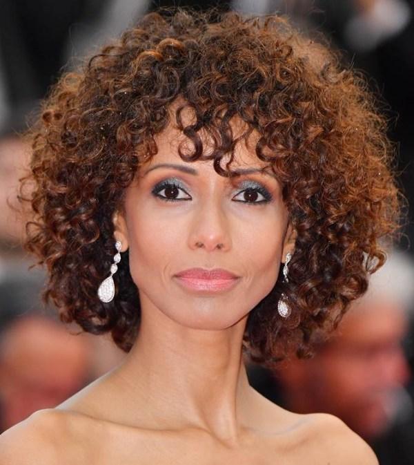 Medium lenght curly hair haircuts with bangs