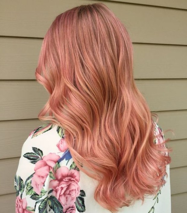Pink blonde curly hair