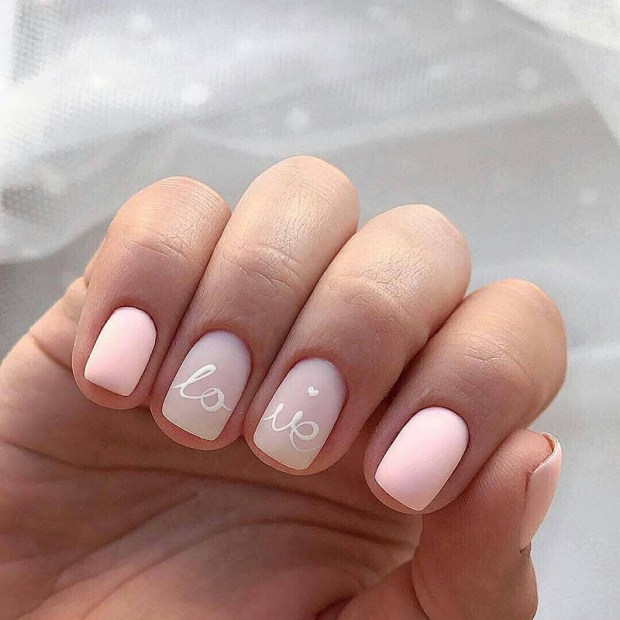 short pale pink nails