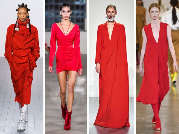 Red color at London's fashion week fall winter 2020 2021