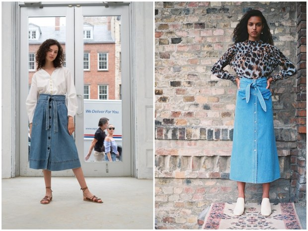 Denim skirt with high waist 2020