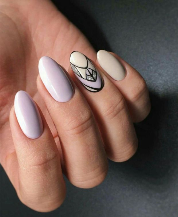Almond nails geometric designs fall 2020