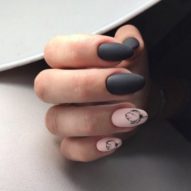 Almond shape nails in matte dark colors
