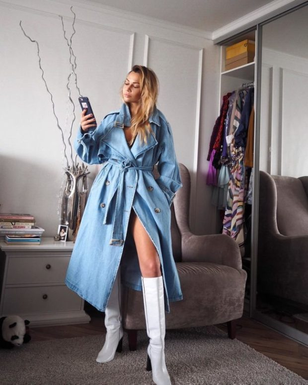 Women denim trench coats 2020