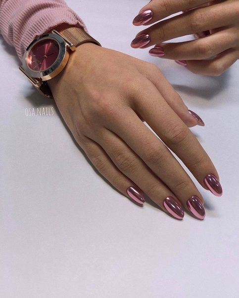 Pink chrome nails 2021