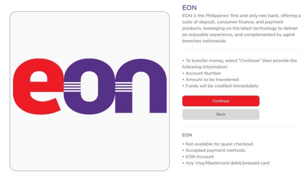 Transfer money to another EON Digital Me Card