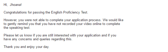passing the english proficiency test