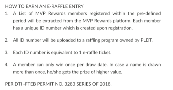Raffle entry of MVP