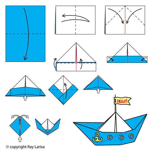 Animated Origami Instructions: Boat: Lesson