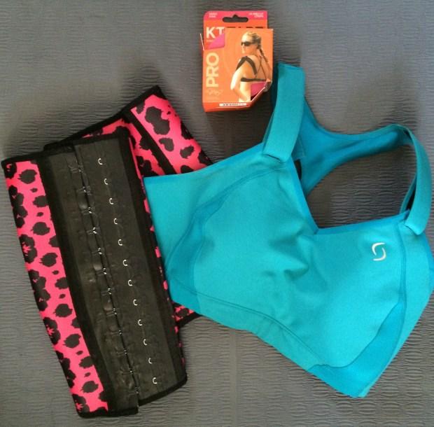 healthy lifestyle waist sincher, sports bra, and KT tape