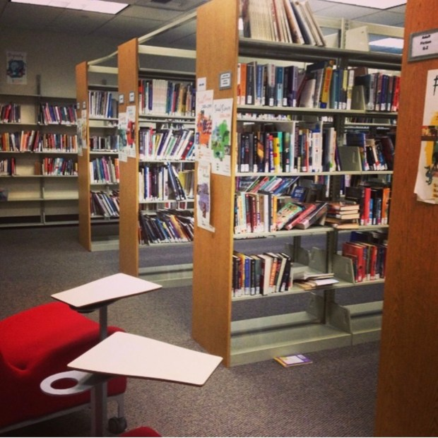 Rows of standing book shelves and two empty chairs with small tables.
