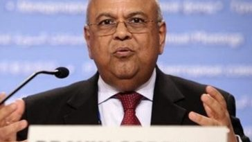Gordhan giving a speech
