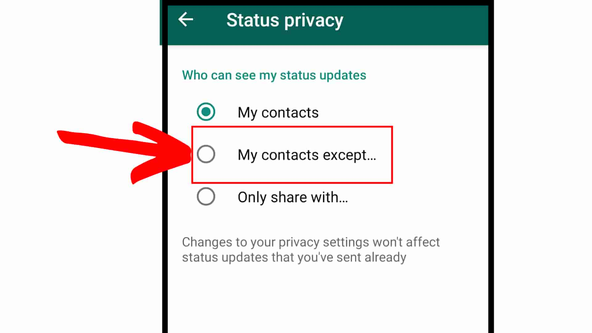 How to hide status in whatsapp Step 7