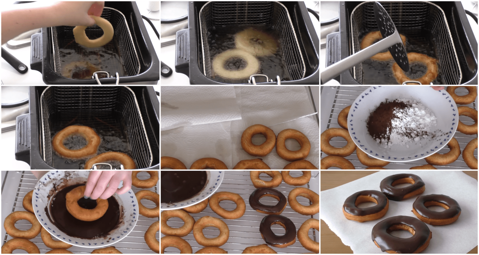 frying and decorating chocolate donuts