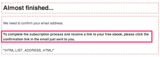 MailChimp Customized Text on Signup Thank You Page
