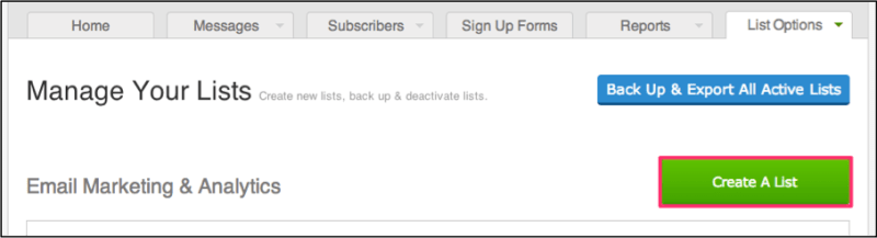 Create a new list in AWeber