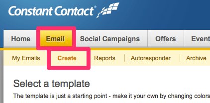 Create an email in Constant Contact