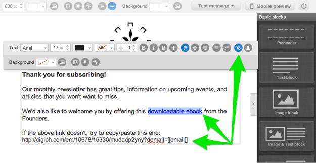 Insert Digioh link into the GetResponse autoresponder